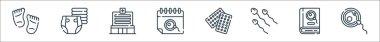 Maternity line icons. linear set. quality vector line set such as fertilization, book, sperm, contraceptive pills, calendar, hospital, diaper icon