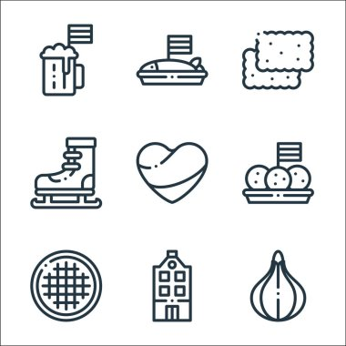Holland line icons. linear set. quality vector line set such as tulip, holland, stroopwafel, bitterballen, holland, ice skating, speculoos, herring icon