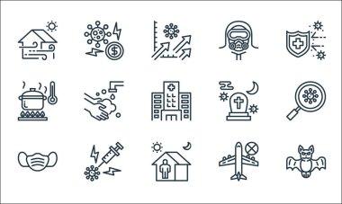 Coronavirus line icons. linear set. quality vector line set such as bat, quarantine, hygiene mask, travelling, vaccine, cooking, death, hazmat, global economy icon