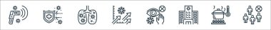 Coronavirus line icons. linear set. quality vector line set such as avoid crowds, cooking, hospital, eyes, statistics, lungs, protection icon