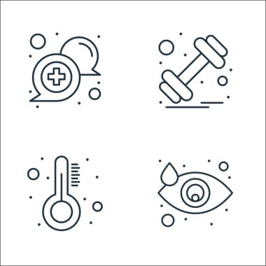 Health and medical line icons. linear set. quality vector line set such as eye, thermometer, dumbbell icon
