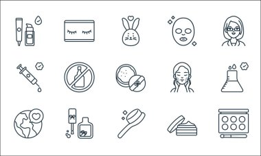 Beauty cosmetics line icons. linear set. quality vector line set such as makeup palette, comb, save the world, skincare, nail polish, syringe, skincare, face mask, eyelashes icon