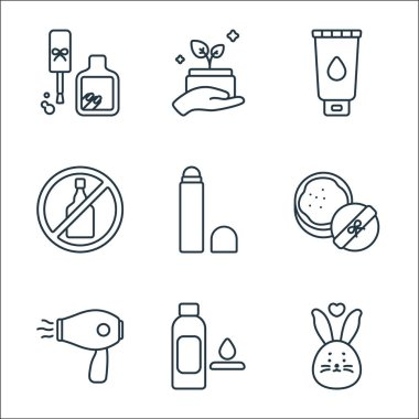 Beauty cosmetics line icons. linear set. quality vector line set such as cruelty free, toner, hair dryer, powder, concealer, no alcohol, facial foam, organic product icon