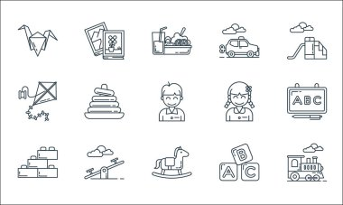 Kindergarten line icons. linear set. quality vector line set such as toy train, rocking horse, blocks, blocks, seesaw, kite, student, toy car, book icon