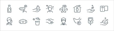 Coronavirus line icons. linear set. quality vector line set such as hand wash, map, shake hands, woman, hand washing, antiseptic, airplane, mouth icon