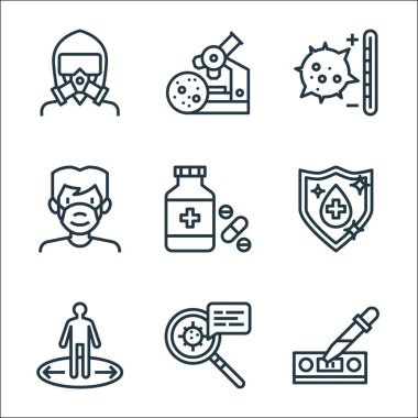 Infectious pandemics line icons. linear set. quality vector line set such as dropper, information, keep distance, antiseptic, medicine, mask, temperature, medical research icon