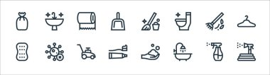 Cleaning line icons. linear set. quality vector line set such as garden hose, shower, toothpaste, sponge, broom, tissue roll, mop, clean icon