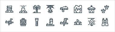 Jungle line icons. linear set. quality vector line set such as binoculars, trunk, owl, snake, hut, palm tree, chameleon, volcano icon
