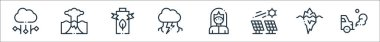 Climate change line icons. linear set. quality vector line set such as car, iceberg, solar panel, mask, thunderstorm, battery, eruption icon