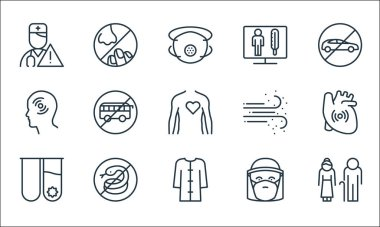 Stop virus line icons. linear set. quality vector line set such as old, bathrobe, test tube, mask, snake, headache, dust, thermometer, nose icon