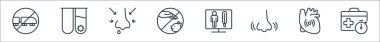 Stop virus line icons. linear set. quality vector line set such as suitcase, pain, nose, thermometer, pets, runny nose, test tube icon