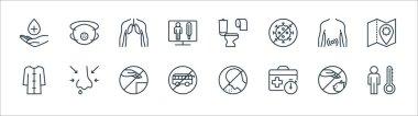 Stop virus line icons. linear set. quality vector line set such as man, suitcase, bus, bathrobe, gastroenterologist, human lungs, diarrhea, mask icon