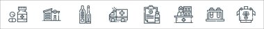 Medical services line icons. linear set. quality vector line set such as x rays, test tubes, receptionist, medical prescription, ambulance, thermometer, hospital icon