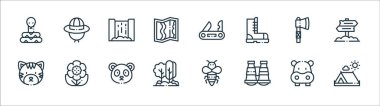 Jungle line icons. linear set. quality vector line set such as camping tent, binocular, trees, tiger, axe, waterfall, swiss knife, explorer hat icon