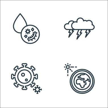 Climate change line icons. linear set. quality vector line set such as solar system, coronavirus, thunderstorm icon