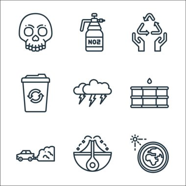 Climate change line icons. linear set. quality vector line set such as solar system, eruption, air pollution, oil, thunderstorm, recycle bin, recycle, carbon dioxide icon