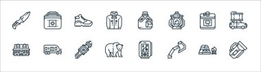 Camping line icons. linear set. quality vector line set such as flashlight, axe, bear, cabin, flask, shoe, water bottle, first aid box icon