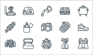 Camping line icons. linear set. quality vector line set such as binocular, oil lamp, camper van, camping gas, kettle, wristwatch, power bank, cabin, tent icon