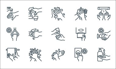 Hand washing line icons. linear set. quality vector line set such as cleaning liquid, cleaning, bath towel, doorbell, cleaning, handle, tissue paper, tissue paper, icon