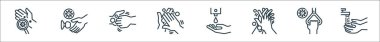 Hand washing line icons. linear set. quality vector line set such as handwash, handle, cleaning, cleaning liquid, cleaning, touching icon