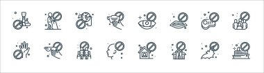 Virus restrictions line icons. linear set. quality vector line set such as cruise, church, no touch, no touch, no meat, traveling, touch, old man icon