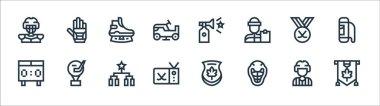 Hockey line icons. linear set. quality vector line set such as mapple leaf, helmet, hockey sticks, scoreboard, hockey, ice skate, horn, ice icon