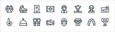 Hockey line icons. linear set. quality vector line set such as prize, supporter, ice resurfacer, foam hand, ice hockey, gym, ice skate icon
