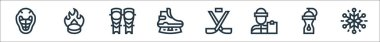 Hockey line icons. linear set. quality vector line set such as snowflakes, water bottle, coach, hockey sticks, ice skate, shin, puck icon