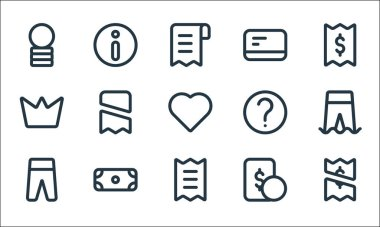 Marketplace line icons. linear set. quality vector line set such as payment, bill, pants, money, dollar, crown, help, card, info icon