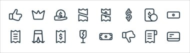 Marketplace line icons. linear set. quality vector line set such as card, dislike, fragile, bill, money, payment, payment, crown icon