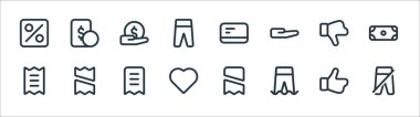 Marketplace line icons. linear set. quality vector line set such as pants, pants, love, bill, dislike, payment, card, money icon