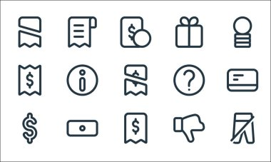 Marketplace line icons. linear set. quality vector line set such as pants, receipt, dollar, dislike, money, bill, help, gift, bill icon