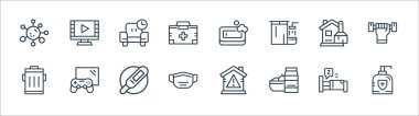 Quarantine line icons. linear set. quality vector line set such as antibacterial, food, mask, trash, cleaning, relax, soap, watch movie icon