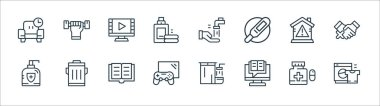 Quarantine line icons. linear set. quality vector line set such as washer, gaming, antibacterial, stay at home, watch movie, washing hand, exercise icon