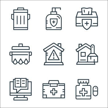 Quarantine line icons. linear set. quality vector line set such as medicine, first aid kit, cleaning, stay at home, cooking, tissue, antibacterial icon