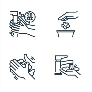 Wash hands line icons. linear set. quality vector line set such as washing hand, hand washing, littering icon