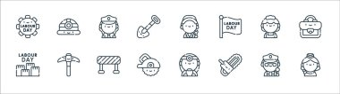 Labour day line icons. linear set. quality vector line set such as hostess, chainsaw, circular saw, labor day, maid, policewoman, worker, helmet icon