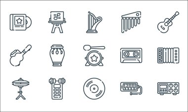 Music line icons. linear set. quality vector line set such as amplifier, vynil, cymbals, melodica, voice recorder, guitar case, cassette, chimes, sheet music icon