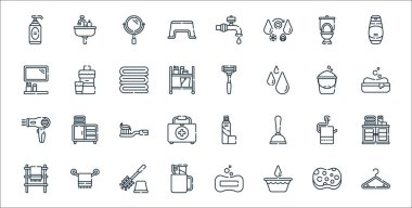 Bathroom line icons. linear set. quality vector line set such as hanger, bucket, toothbrush, towel, toilet paper, toothbrush, soap, razor, mouthwash icon