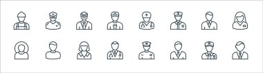 Professions line icons. linear set. quality vector line set such as lawyer, employee, doctor, farmer, businessman, professor, doctor, taxi driver icon