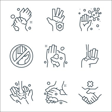 Washing hand line icons. linear set. quality vector line set such as no handshake, washing, washing, alcohol gel, do not touch, germs, hand protection icon