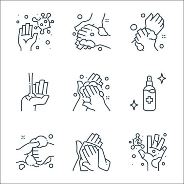 Washing hand line icons. linear set. quality vector line set such as germs, towel, washing, alcohol, washing, alcohol gel, icon