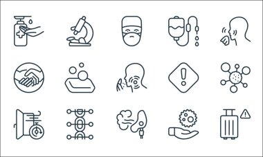 Covid line icons. linear set. quality vector line set such as travel, inhaler, ventilation, virus, genetics, no handshake, attention, dropper, microscope icon