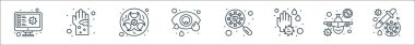 Virus transmission line icons. linear set. quality vector line set such as vaccine, no flight, germ, virus search, conjunctivitis, biohazard, germs icon