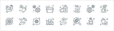 Wash hands line icons. linear set. quality vector line set such as cleaned, search, tissue paper, bacteria, transmission, bacteria, hand sanitizer, hand wash icon