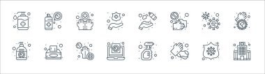 Wash hands line icons. linear set. quality vector line set such as hospital, hand wash, medical report, hand sanitizer, bacteria, clean, hand sanitizer, cleaning spray icon