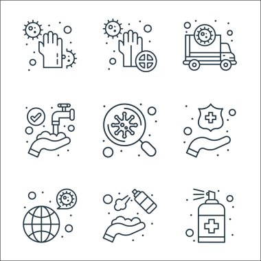Wash hands line icons. linear set. quality vector line set such as cleaning spray, hand sanitizer, transmission, clean, search, hand wash, ambulance, dirty icon
