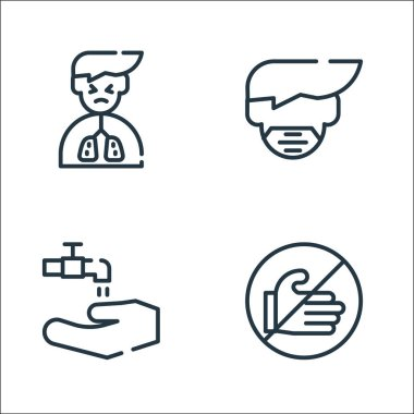 Symptoms virus line icons. linear set. quality vector line set such as dont touch, wash your hands, mask icon