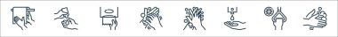 Hand washing line icons. linear set. quality vector line set such as cleaning, handle, cleaning liquid, cleaning, tissue paper, liquid icon