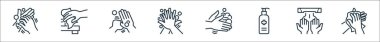 Hand washing line icons. linear set. quality vector line set such as tissue paper, hand dryer, cleaning liquid, cleaning, cleaning, icon